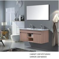 China Wall Mounted PVC Bathroom Cabinet with Mirror and Resin Countertop on sale