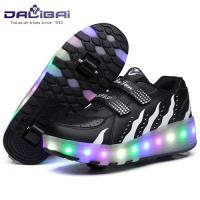 Quality Light Up 2 Wheels Skate Roller Shoes LED Casual Shoes For Kids and Adults for sale