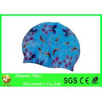 China Silk printed Silicone Swim Caps Custom Color and Size , Bathing Caps for Swimming on sale