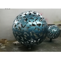 China Hollow Ball Stainless Steel Abstract Sculpture Garden Art Metal Outdoor Lamp Decorative wholesale