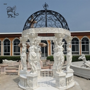 China White Garden Marble Gazebos Stone Lady Relief Columns With Iron Dorm wholesale