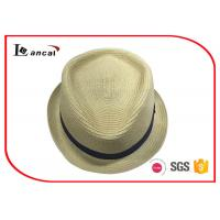 Black Ribbed Band Wide Brimmed Straw Hat For Women , Packable Straw Sun Hat