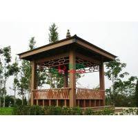 China WPC Asian Style Pre Built Gazebos , Ready Made Gazebo With Back Bench And Decoration wholesale