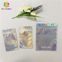 China Custom Cosmetic Packaging Bag Plastic Hologram Mylar Zipper With Clear Window wholesale