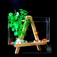China Fake glass acrylic custom fish aquarium with wood base wholesale