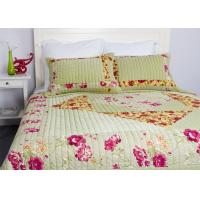 China Embroidered Velvet Quilted Bedspread , Straight Lines 3pcs Cotton Quilts And Coverlets wholesale