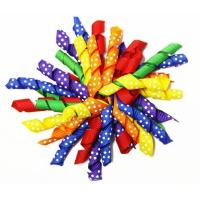 """China Colorful 4.5"""" Grosgrain with dot Curly Ribbon bow for  Korker Hair Bow Clips wholesale"""