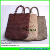 China LUDA colored seagrass straw beach bag natural beach towel bag on sale