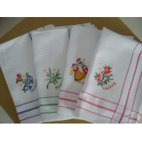 China Cute Floral Tea Towels With Embroidered Logo , Custom Printed Tea Towels  wholesale