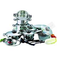 China Mixing bowl and steamer 23Pcs Stainless steel cookware set SHXM1031BS on sale