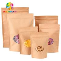 China Ziplock Stand Up Pouch Kraft Brown Paper Bag For Dry Fruit Nut Candy Packaging wholesale