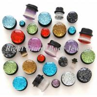 China Resin Single Flared Saddle Ear Expander Plugs With Glitters And O Ring wholesale