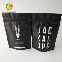 China Matte Black Metallic Foil Pouch Stand Up 2 Oz Coffee Bags With Zipper / Valve wholesale
