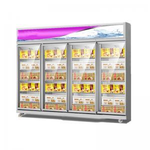 China Supermarket Frozen Food 4 Glass Door Industrial Upright Freezer Showcase on sale