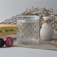 China Creative decorative glass candle holders with lid set , pattern design wholesale