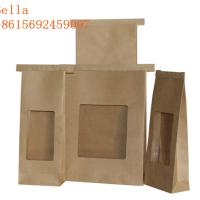 Square Block Customized Paper Bags Flat Bottom Window Kraft Paper For Coffee