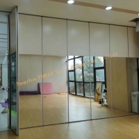 China Classroom Folding 3000mm Movable Glass Partition Walls , Door Hanging Screen Yoga Aluminium Frame Glass Partition wholesale