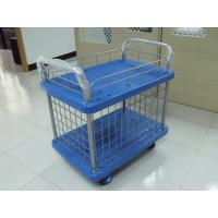 China Two Tiers Folding Handle Platform Cart With Four Wheel And Wire Mesh wholesale