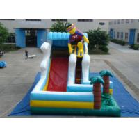 China Surfboard Man Outdoor Inflatable Water Slide , Party Big Blow Up Water Slides wholesale