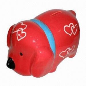 China Dog shape ceramic coin bank, animal ceramic money bank wholesale