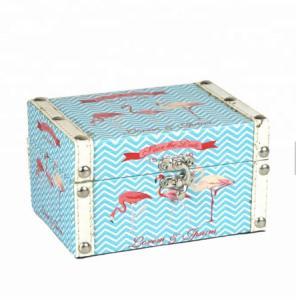 China Light Blue Customized Mdf Home Decorative Storage Box Small Canvas Style Vintage Waterproof Canvas Wood Box wholesale
