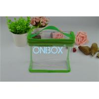 China Fashion Carrying Transparent PVC Zipper Bags With Green Borders / Handle wholesale