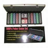 China 500pcs Plastic Poker Chips, 100/200/300yards are Also Available, with Aluminum Box on sale