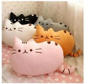 China 40cm Pusheen the cat Short soft plush toys Cartoon doll Cushion Black Gray Brown White wholesale