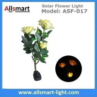 China 3LED Yellow Solar Rose Flower Lights Stem Solar Powered Garden Lamp Outdoor Decorative Landscape LED Rose Lights wholesale