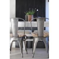 Quality Industrial Contemporary Tolix Metal Dining Chairs With Gunmetal Steel Side Chair for sale
