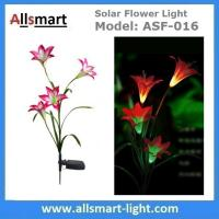 China 4LED Articifial Solar LED Lily Flower Stake Light Stem Color Changing Energy Saving LED Lamp for Garden Patio Backyard wholesale