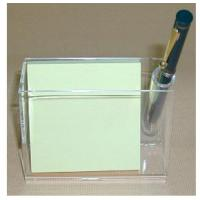 China 3mm Acrylic Stationery Holder , PMMA Pen Display Stand With Memo Box wholesale