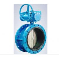 Quality Flanged Resilient Sealing Cast Steel Butterfly Valve 1.0MPa / 1.6MPa Blue Color for sale