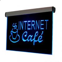 China 500x300mm silver aluminum frame colorful led edge lit sign wholesale