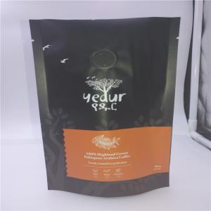 China Matte Black 500 Gram 1 LB printed food packaging bags With Ziplock And Degassing Valve wholesale