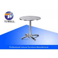 China Silver Patio Stainless Steel Outdoor Table , Outdoor Tables And Chairs wholesale