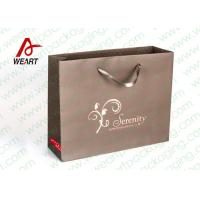 China Brown Custom Paper Shopping Bags With Bottom Cardboard Satin Ribbon wholesale