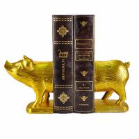 China Polyresin Piggy Home Decor Bookends With Gold Gilded Urban Customized Size on sale