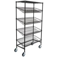 "China 18"" Deep X 36"" Wide X 72"" High 5 Tier Slanted Wire Shelving Black Epoxy Surface Finish wholesale"