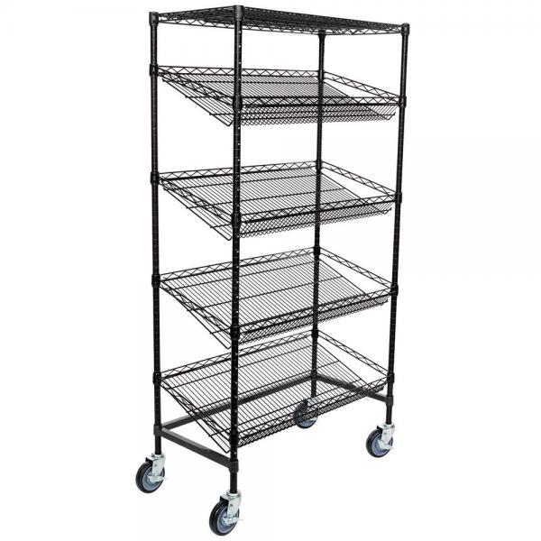 "Quality Supermarket 5 Tier Slanted Wire Shelving / Black Wire Shelf Unit 18"" D X 36"" W for sale"