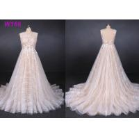 Sexy Backless Female Wedding Dress Sleeveless Sequins Tulle Bright Lines And Chi Shapes
