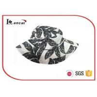 China 100% Cotton floral printing bucket hat with wide brim , summer straw hats wholesale