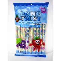 China Long twist fruit flavor mashmallow / extra long and soft / nice-looking snack mashmallow wholesale