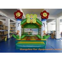 China Green Flower Theme Inflatable Air Bouncer , Kids Party Jumping Castle Rental on sale