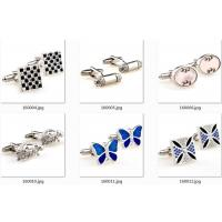 China Tailored Butterfly Shape Silver Enamel Cufflinks Stud Sets Initial Letter Engraved Crystal wholesale