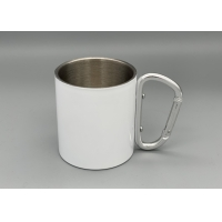 China Stainless Steel Portable 300ml Capacity Custom Camping Mugs With Carabiner Handle wholesale