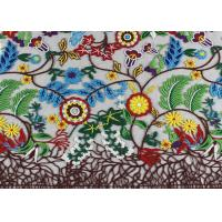 China Rural Style Multi Colored Lace Fabric with Abundant Flowers And Leaves Pattern wholesale