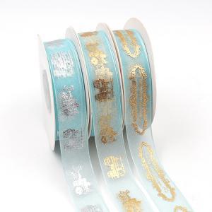China Gold Printed Organza Ribbon , Double Face Type Organza Wedding Ribbon wholesale