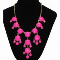 China 2012 Hot Selling Hot Pink Resin Bib Bubble Statement Necklace on sale