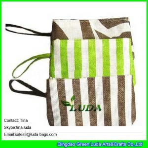 China LUDA striped handbags fashion beach wallets paper straw handbag purses on sale